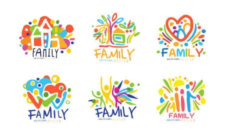 Colorful Family Label or Emblem Original Design Vector Set Vektorgrafik