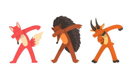 Animals Standing in Dub Dance Pose Set, Fox, Goat, Hedgehog Doing Dabbing Cartoon Vector Illustration Vector Illustration