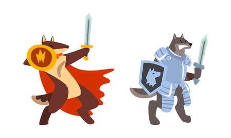 Warlike Animals Set, Dog Knights Fighting with Sword and Shield Cartoon Vector Illustration Vektoros illusztráció