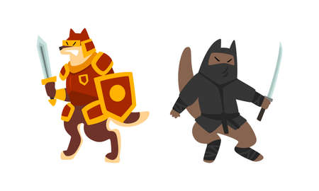 Warlike Animals Set, Knight and Ninja Dog Characters Fighting with Swords Cartoon Vector Illustration