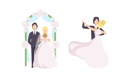 Just Married Newlyweds Set, Happy Couple Celebrating Marriage, Bride and Groom Dancing Flat Vector Illustration
