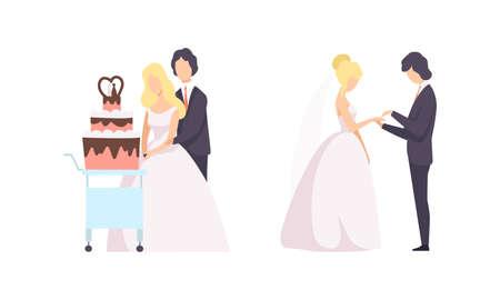 Just Married Newlyweds Set, Happy Couple Celebrating Marriage, Bride and Groom Cutting Wedding Cake Flat Vector Illustration 向量圖像