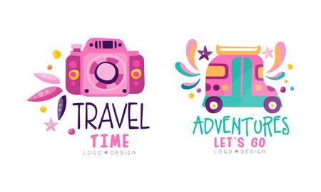 Travel Time Design Set, Adventures Let Go Hand Drawn Labels Vector Illustration
