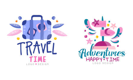 Travel Time Design Set, Adventures Happy Time Hand Drawn Labels Vector Illustration