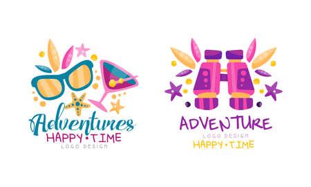 Adventures Happy Time Design Set Labels Badges Vector Illustration Ilustracja