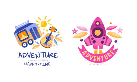 Adventure Happy Time Design Set Hand Drawn Labels Badges Vector Illustration