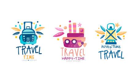 Travel Time Design Set, Adventure Travel Bright Hand Drawn Labels Badges Vector Illustration