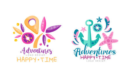 Adventures Happy Time Design Set Hand Drawn Labels Badges Vector Illustration