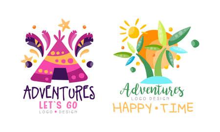 Adventures Happy Time  Design Set, Let Go Hand Drawn Labels Badges Vector Illustration