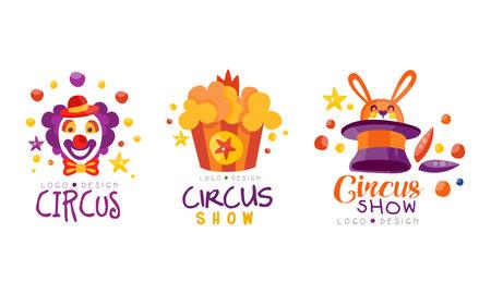 Circus Show Design Set, Carnival, Festival Event Hand Drawn Labels Badges Vector Illustration
