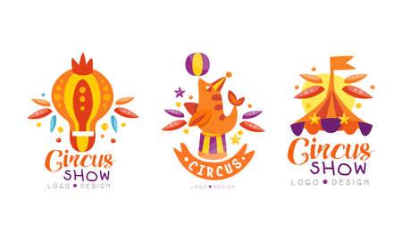 Circus Show  Design Set, Carnival, Festival Event Colorful Hand Drawn Labels Badges Vector Illustration Ilustracja