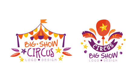 Big Circus Show Design Set, Festival Event Hand Drawn Labels Badges Vector Illustration