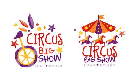 Big Circus Show Design Set Hand Drawn Labels Badges Vector Illustration