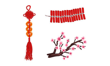 Chinese New Year Decoration Elements Set, Hanging Copper Coins, Firecrackers, Sakura Cherry Branch Cartoon Vector Illustration