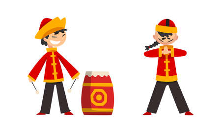 Chinese New Year Decoration Elements Set, Boys in Traditional Chinese Costume Playing Drums Cartoon Vector Illustration