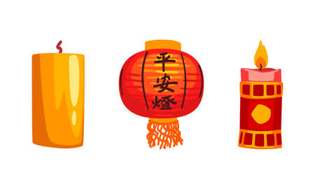 Chinese New Year Decoration Elements Set, Red Lanterns, Burning Candles Cartoon Vector Illustration