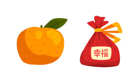 Chinese New Year Decoration Elements Set, Red Lucky Bag, Fresh Tangerine Fruits Cartoon Vector Illustration