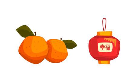 Chinese New Year Decoration Elements Set, Red Lantern and Tangerine Fruits Cartoon Vector Illustration Ilustracja