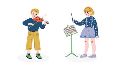 Talented Children Set, Girl Conductor Directing with Her Baton, Boy Playing Violin, Child Development, Hobby, Education Concept Vector Illustration