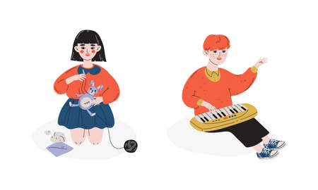 Talented Children Set, Girl Sewing, Boy Playing Toy Synthesizer, Child Development, Hobby, Education Concept Vector Illustration