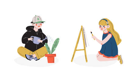 Talented Children Set, Boy Watering Houseplant, Girl Painting on Easel, Child Development, Hobby, Education Concept Vector Illustration Ilustracja