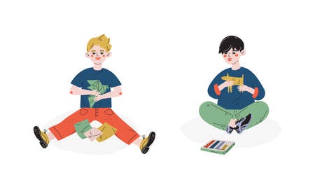 Talented Children Set, Boys Making Origami and Figures from Plasticine, Child Development, Hobby, Education Concept Vector Illustration Ilustracja
