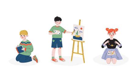 Talented Kids Set, Children Painting on Easel, Reading Book, Making Bracelets, Child Development, Hobby, Education Concept Vector Illustration