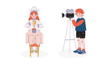 Talented Children Set, Girl Baking Cake, Boy Recording Video with Camcorder, Child Development, Hobby, Education Concept Vector Illustration Ilustracja