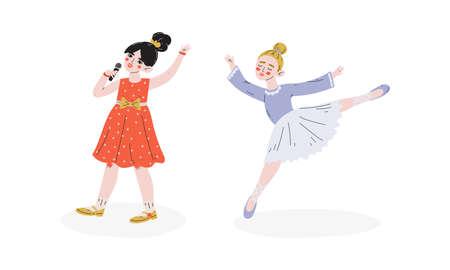 Talented Children Set, Girls Singing and Dancing, Child Development, Hobby, Education Concept Vector Illustration