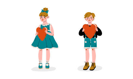 Cute Boy and Girl Holding Red Hearts Vector Illustration Ilustracja