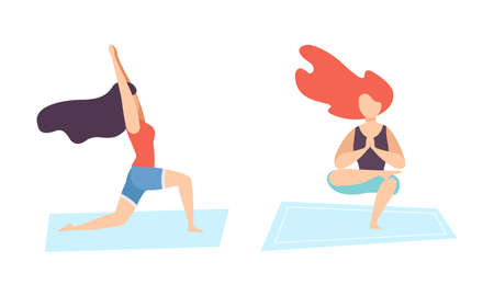 Young Woman on Mat Doing Yoga Standing in Asana Vector Set