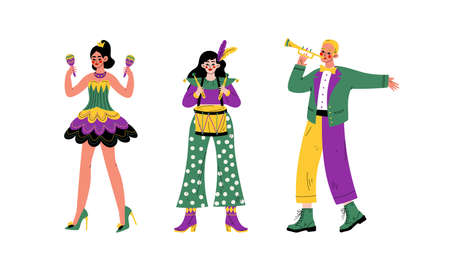 Man and Woman in Bright Costumes for Circus Show or Entertaining Performance Vector Set Ilustracja