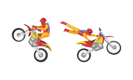 Freestyle Motocross with Motorcycle Rider Performing Jumps and Stunt Vector Set
