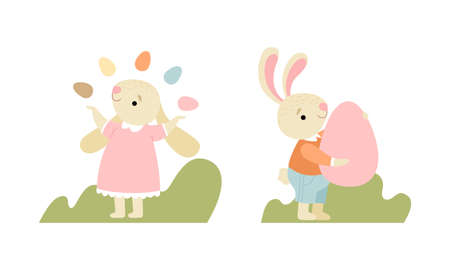 Cute Easter Bunny with Long Ears Juggling with Egg Vector Set Ilustracja