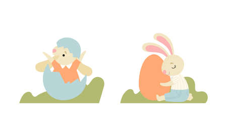Cute Easter Bunny with Long Ears Hatching from Egg and Embracing It Vector Set