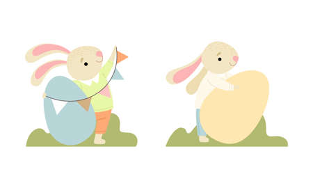 Cute Easter Bunny with Long Ears with Big Egg and Flag Garland Vector Set