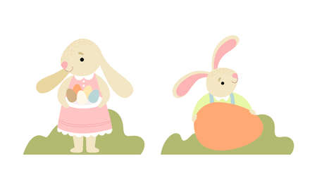 Cute Easter Bunny with Long Ears Holding Egg Vector Set