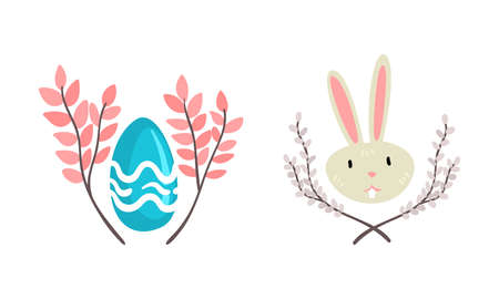 Funny Easter Bunny Head with Long Ears and Grey Coat with Decorated Egg and Floral Branch Vector Set
