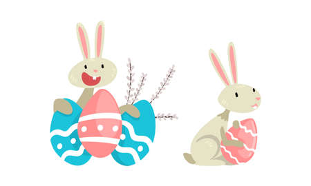 Funny Easter Bunny with Long Ears and Grey Coat with Decorated Eggs Vector Set