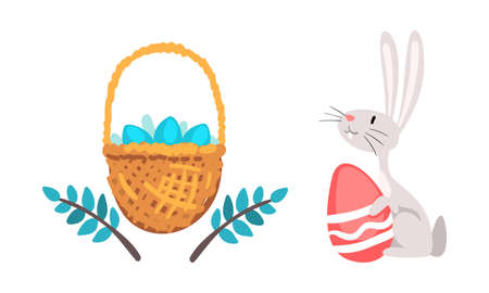 Funny Easter Bunny with Long Ears and Grey Coat with Decorated Egg in Wicker Basket Vector Set