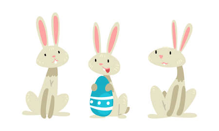 Funny Easter Bunny with Long Ears and Grey Coat with Decorated Egg Vector Set