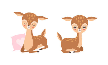 Cute Baby Deer with Spots as Adorable Hoofed Mammal Living in Forest Vector Set
