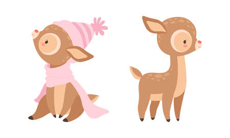 Cute Baby Deer with Spots as Adorable Hoofed Mammal Standing and Wearing Knitted Hat and Scarf Vector Set