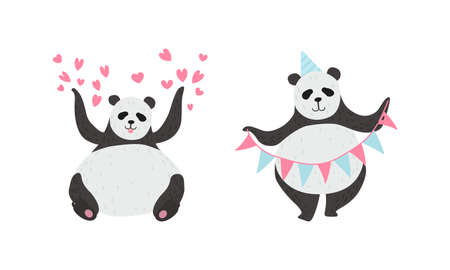 Panda Bear with Black-and-white Coat and Rotund Body Holding Garland and Sitting with Raised Paws Vector Set Ilustracja