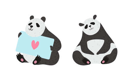 Panda Bear with Black-and-white Coat and Rotund Body Sitting and Holding Card Vector Set Ilustracja