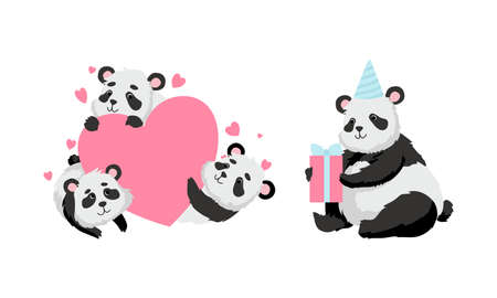 Funny Panda Bear with Black-and-white Coat and Rotund Body Holding Gift Box and Embracing Heart Vector Set Ilustracja