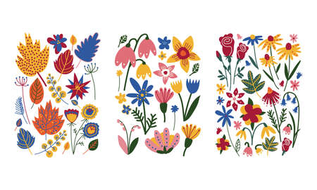 Floral Doodle Rectangular Shape with Colorful Flowers Vector Set