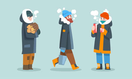 Man in Warm Winter Clothing Ice Fishing on Frozen River or Lake Carrying Bucket and Drinking Hot Beverage Vector Set Ilustracje wektorowe