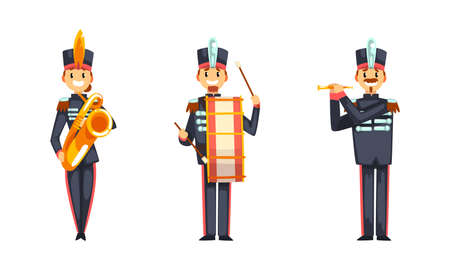 Military Band Member in Parade Uniform Playing Musical Instrument Vector Set