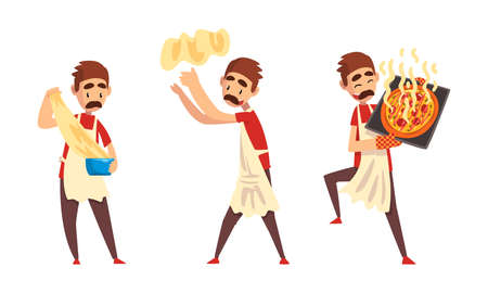 Moustached Male Pizza Maker in Apron Preparing Italian Pizza Kneading and Tossing Dough Vector Set